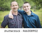 father with son outside in a... | Shutterstock . vector #466308902