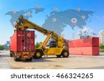 cargo containers and folklift... | Shutterstock . vector #466324265
