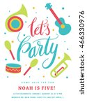 birthday musical card for kids... | Shutterstock .eps vector #466330976