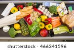 a lot of food on the counter in ... | Shutterstock . vector #466341596