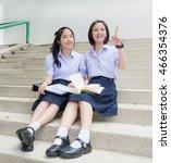 cute asian thai high... | Shutterstock . vector #466354376