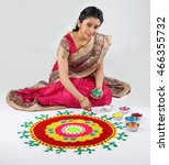 woman making rangoli for diwali ... | Shutterstock . vector #466355732