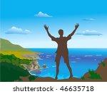 boy admires the sea view | Shutterstock .eps vector #46635718