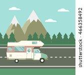 family traveler truck driving... | Shutterstock . vector #466358492