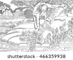 coloring page . jungle . africa ... | Shutterstock .eps vector #466359938