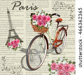 paris vintage poster.newspaper... | Shutterstock .eps vector #466362365