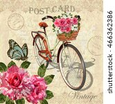 vintage background with roses... | Shutterstock .eps vector #466362386