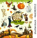 halloween 3d vector icons. set... | Shutterstock .eps vector #466382012