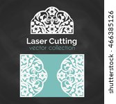 laser cut card. template for... | Shutterstock .eps vector #466385126