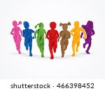 children running  designed... | Shutterstock .eps vector #466398452