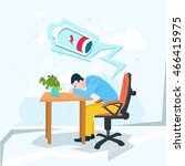 tired business man work laptop... | Shutterstock .eps vector #466415975