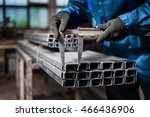 factory worker measures the... | Shutterstock . vector #466436906