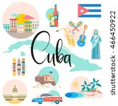 cuba map with attraction and...   Shutterstock .eps vector #466450922