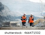 workers with coal at open pit | Shutterstock . vector #466471532