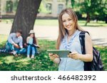 portrait of a college girl... | Shutterstock . vector #466482392