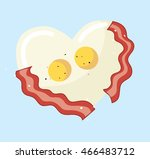 fried egg and bacon in heart... | Shutterstock .eps vector #466483712