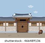 traditional korean style house...   Shutterstock .eps vector #466489136