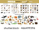 Stock vector huge collection of funny cartoon animals birds pets farm and sea creatures vector illustration 466499396