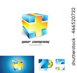 blue orange abstract cube logo... | Shutterstock .eps vector #466520732