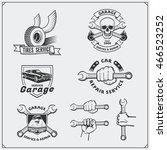 set of car service labels ... | Shutterstock .eps vector #466523252