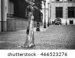 elegant woman on the street... | Shutterstock . vector #466523276