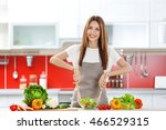 woman cooking  healthy food in... | Shutterstock . vector #466529315