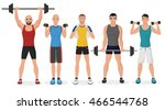 fitness men in gym set. healthy ... | Shutterstock .eps vector #466544768