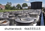 many milk cans on a old train... | Shutterstock . vector #466555115