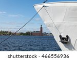 stockholm view with an anchored ... | Shutterstock . vector #466556936