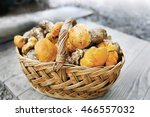 Basket With Fresh Mushrooms ...