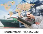 map global logistics... | Shutterstock . vector #466557932