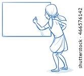 happy young school girl writing ... | Shutterstock .eps vector #466576142