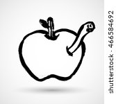 Apple With Worm Grunge Icon