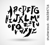 hand drawn brush stroke font | Shutterstock .eps vector #466584716