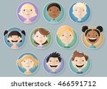 a set of different kids faces.... | Shutterstock .eps vector #466591712