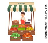 farm shop. local stall market.... | Shutterstock .eps vector #466597145