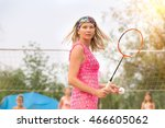 the girl on the beach plays in... | Shutterstock . vector #466605062