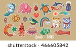 set of stickers with lucky... | Shutterstock .eps vector #466605842