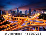 elevated view of a road... | Shutterstock . vector #466607285