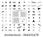 set of geometric retro memphis... | Shutterstock .eps vector #466631678