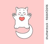 Stock vector funny albino cat with raised paws in love isolated on pink background vector illustration 466642646