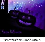 halloween pumpkins on blue moon ... | Shutterstock .eps vector #466648526