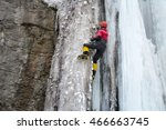sportsman is climbing up on ice ... | Shutterstock . vector #466663745