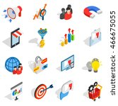 marketing icons in isometric 3d ... | Shutterstock . vector #466675055