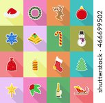 christmas and new year flat... | Shutterstock .eps vector #466699502