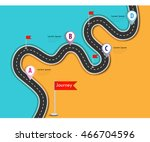 road trip and journey route.... | Shutterstock .eps vector #466704596