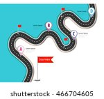road trip and journey route.... | Shutterstock .eps vector #466704605