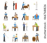 flat design craftsmen icons... | Shutterstock .eps vector #466768826