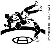wrestling black vector... | Shutterstock .eps vector #466774166