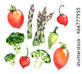 watercolor vegetables set with... | Shutterstock . vector #466777955